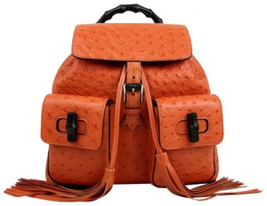 Gucci Ostrich Leather Bamboo Tassel Backpack