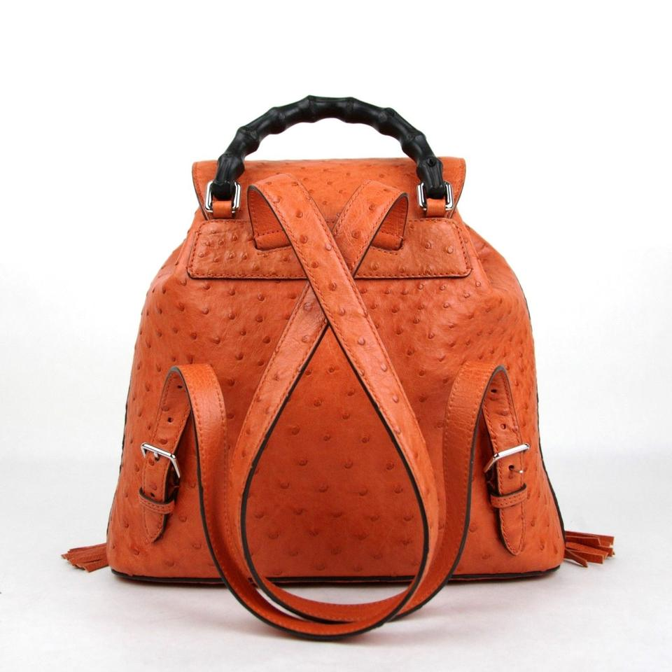 093fa885b29 Gucci Ostrich Leather Bamboo Tassel Backpack Image 10. 1234567891011