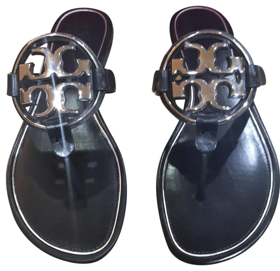 9051cb08acf1 Tory Burch Perfect Navy Silver Metal Calf Leather Sandals Size US 9 ...