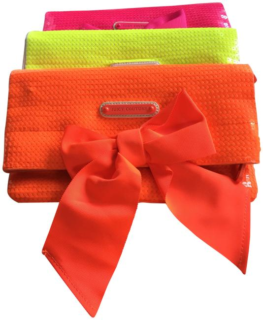 Juicy Couture Neon Bow Orange Sequin Canvas Clutch Juicy Couture Neon Bow Orange Sequin Canvas Clutch Image 1