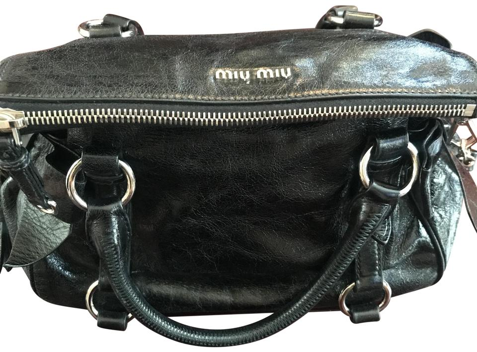 26ac4ca3aa011 Miu Miu Vitello Lux Mini Bow Satchel Black Leather Cross Body Bag ...