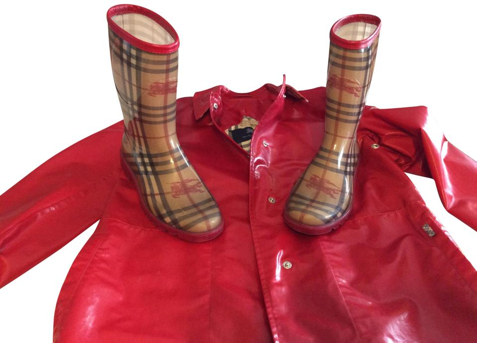 2107308258e9 Burberry Red Coat Boots Booties Size US 7 Regular (M
