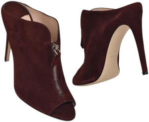 Miu Miu Suede Peep Toe Decorative Zipper Slip On Burgundy Mules