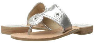 Jack Rogers Navajo Hamptons Palm Beach Metallic Leather Silver Sandals
