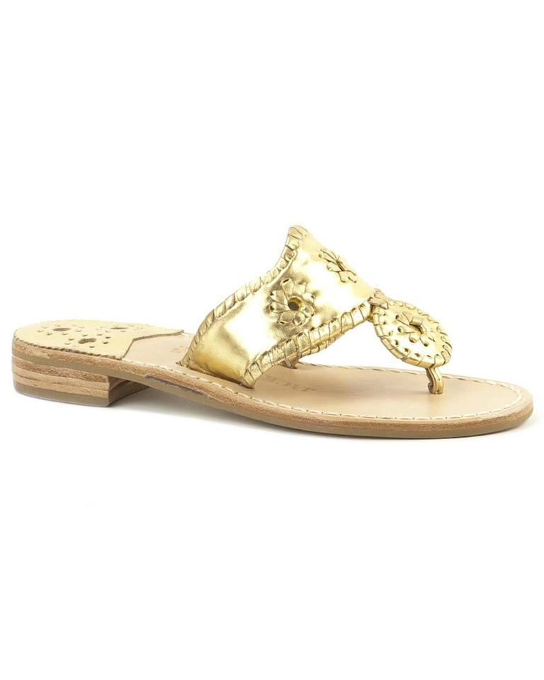 fedf522dd849 Jack Rogers Gold Navajo Hamptons Palm Beach Thong Metallic Leather Sandals
