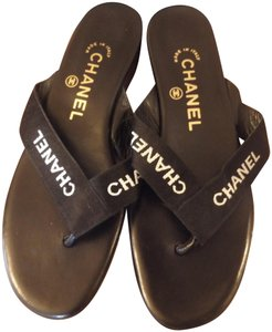 Chanel Logos Small Chunky Heel Leather Made In Italy Dustbag Black Flats