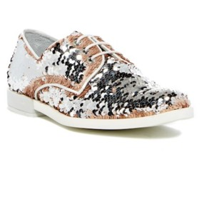 Miista Oxfords Sequin White/silver/rosegold Flats