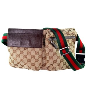 Gucci Monogram Belt Canvas Classic Vintage Brown Travel Bag