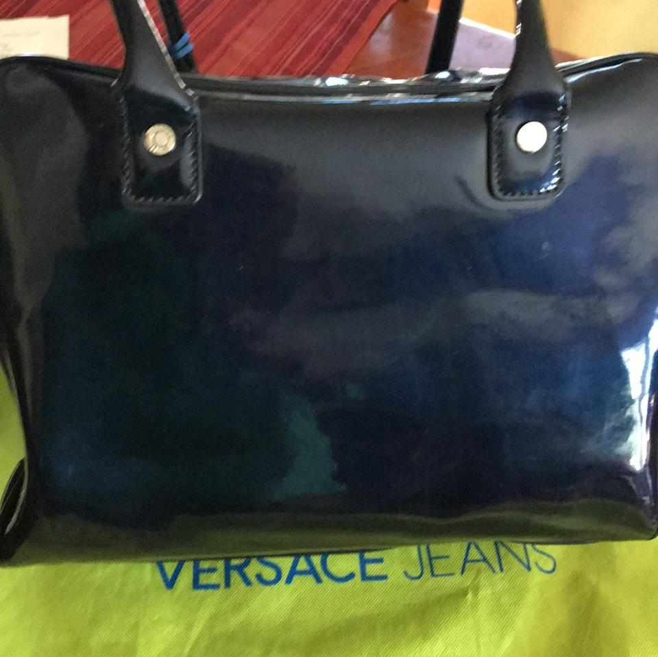 07c3ad94b3d Versace Jeans Collection Bowling Bag Navy Blue Patent Leather ...