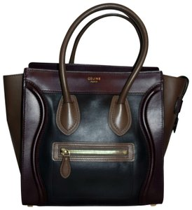 Céline Luggage Micro Micro Luggage Colorblock Smooth Leather Tote in Black  Burgundy Olive 26340610d58e2