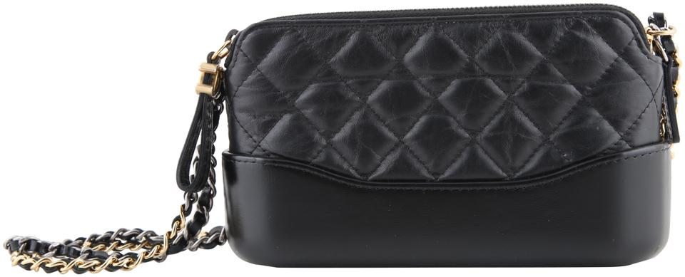 397a34ff37eb23 Chanel Gabrielle Clutch Aged with Chain Black Calfskin Leather Shoulder Bag