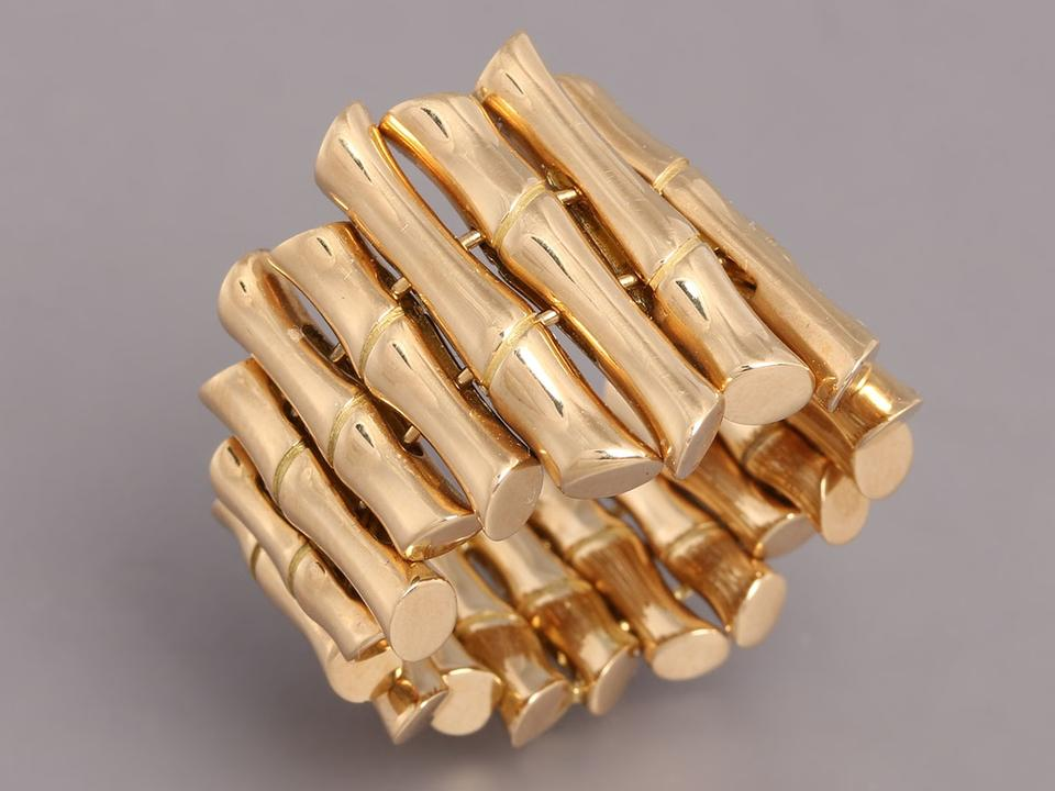 a3d2b367a Gucci 18k Yellow Gold Wide Flexible Bamboo Ring - Tradesy