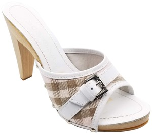 Burberry Plaid Leather 76049 Pink Mules