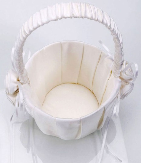 Ivory 2-pack New Satin with Rosette Cluster Detail Flower Girl Basket