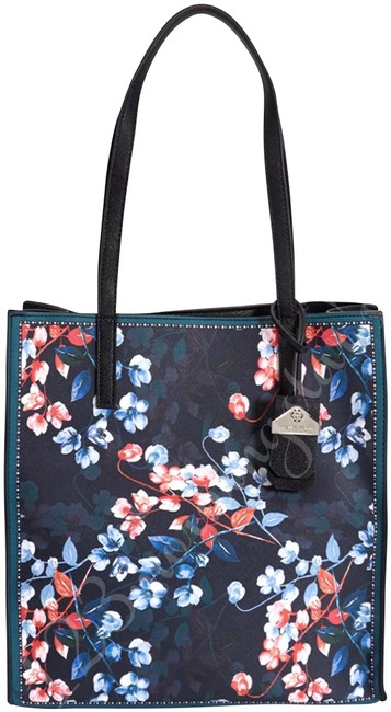 Item - Athena Winter Floral Style No. 28712178 Multi-color Navy Faux Leather Tote