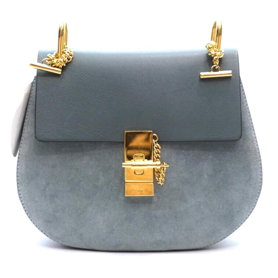 d8d5428f8c Chloé Drew Cloudy Blue Leather and Suede Cross Body Bag 36% off retail