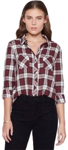 Soft Joie Button Down Shirt Black, Red, White