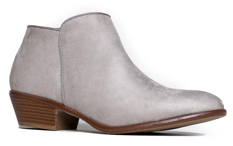 authentic professional sale catch J. Adams Light Grey Suede Manny Low Heel Western Ankle Boots ...