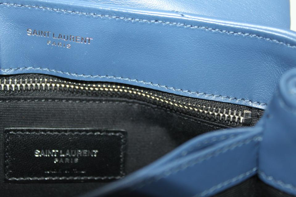 Flap Cross Body Bag Toy Loulou Leather Saint Blue Laurent Denim New Monogram Quilted Pq4PnvgfYw