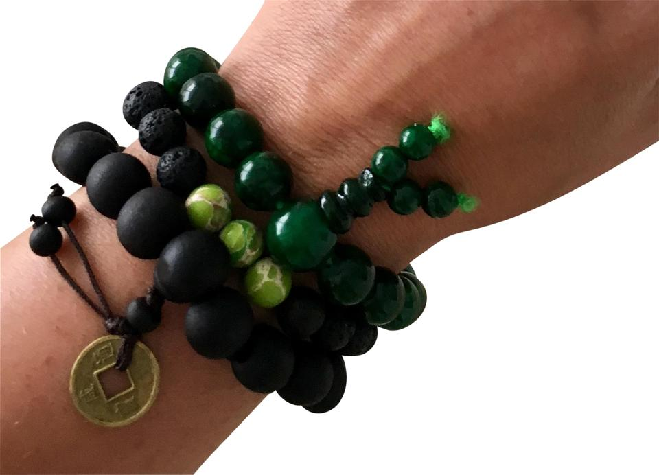 Brown Black Lucky Calm Reach Stack Set Chinese Fortune Coin Gemstones Bracelet 78 Off Retail