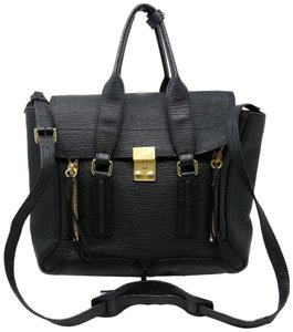 3.1 Phillip Lim Monogram Hudson Market Ray Baguette Alix Micro 31 Hour Satchel in Black