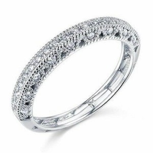White Gold 14k Solid Pave Size 7 Women's Wedding Band