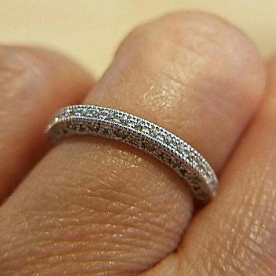 White 14k Solid Gold Pave Size 7 Women's Wedding Band