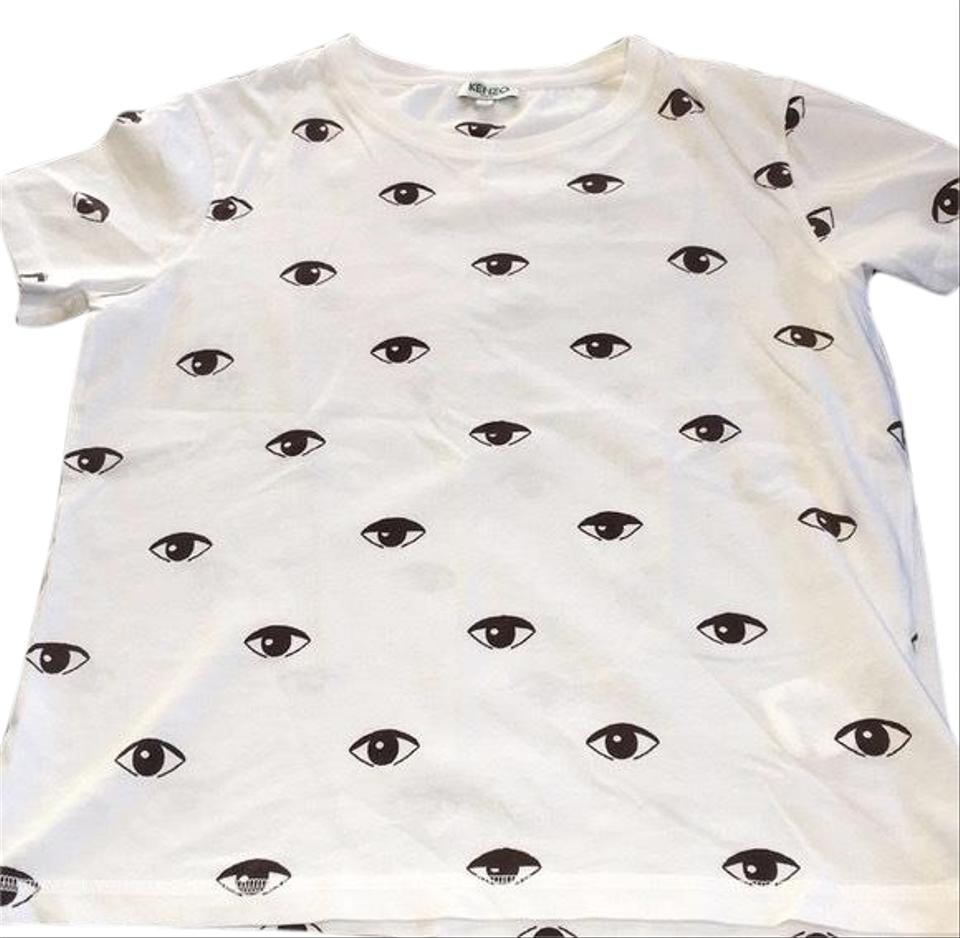 Kenzo Womens Allover Eyes Printed Cotton White T Shirt Tee Shirt