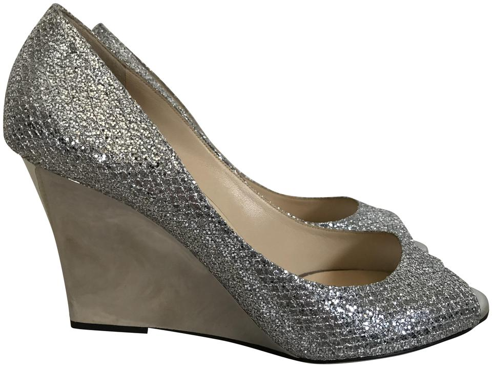 49d06828b67 Jimmy Choo Silver Baxen Metallic Glitter Peep Toe Wedge Pumps Size ...