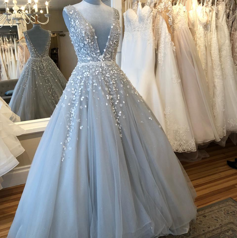 Vintage Dresses Blue Wedding: Light Blue Tulle Niab18092 Formal Wedding Dress Size 6 (S