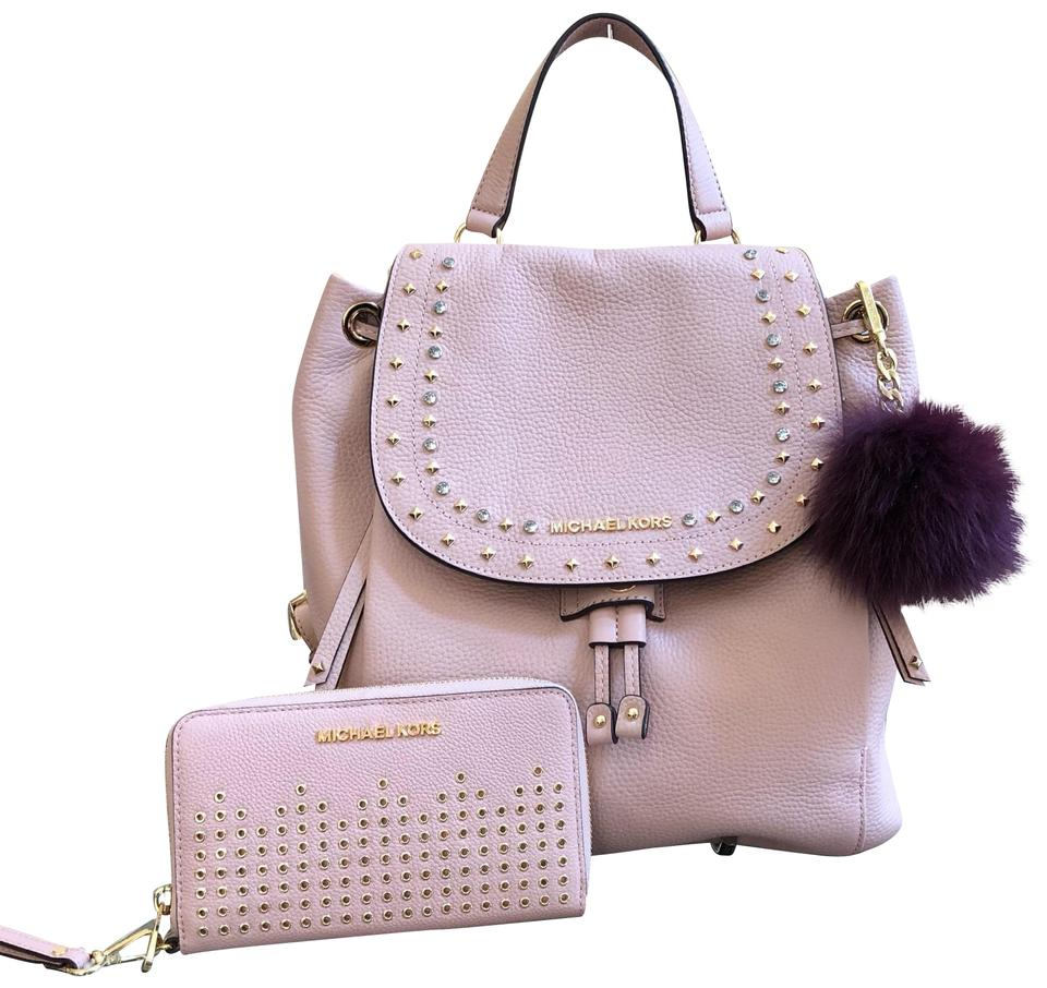 0311c56062ea Michael Kors 3pcs Riley Large Gold Studded&wallet&pom Pom Pastel Pink  Leather Backpack