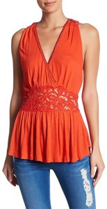 Free People Embroidered Peplum Sheer Top Red