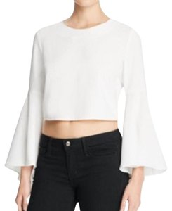 Mustard Seed Bell Sleeve 70s Crop Top White