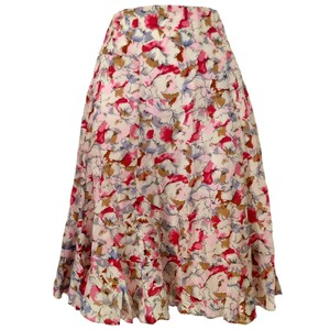 Jigsaw Flared Silk Floral Flowers Knee Skirt pink