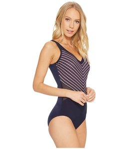 Miraclesuit Miraclesuit Lucky Stripe On Point swimsuit midnight blue sz 8