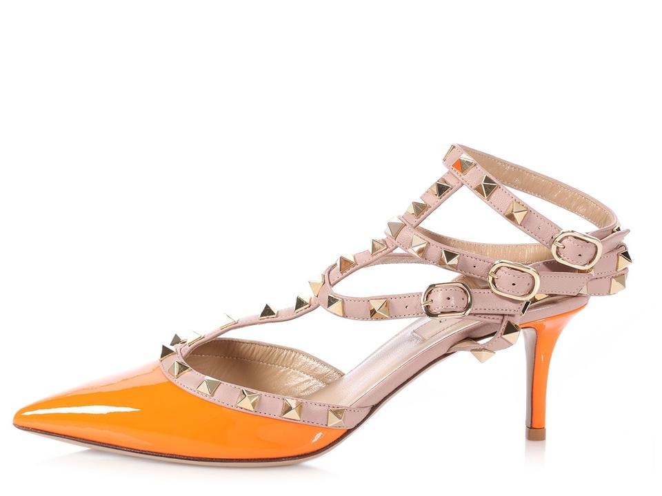 89d77bba7b1d Valentino Vl.p0720.11 Studded Pointed Toe Ankle Strap Reduced Price Orange  Sandals Image ...