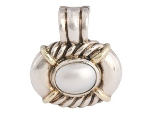 David Yurman MABE PEARL AND STERLING SILVER CABLE ENHANCER
