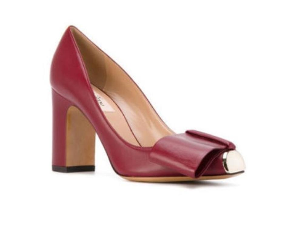 Valentino Ruby Pumps Chunky-heel Metal-toe Bow Leather Pumps Ruby 00cf88