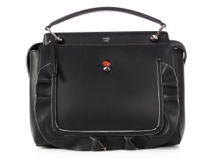 Fendi Fi.p0716.08 Top Handle Silver Hardware Orange Tote in Black