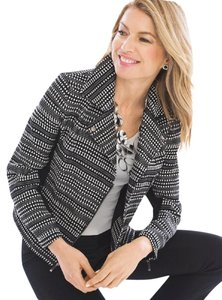 Chico's Striped Textured Motorcycle Jacket