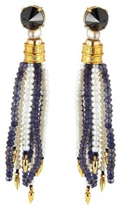 Lizzie Fortunato LIZZIE FORTUNATO Oasis Long Beaded Fringe Post Earrings IOLITE Blue