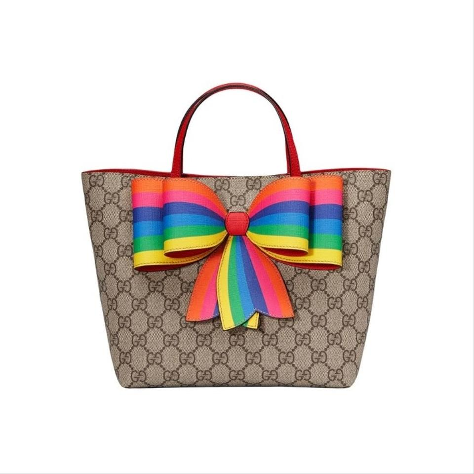 e201ac2ea25 Gucci Kids Children s Gg Supreme Rainbow Beige Canvas Tote - Tradesy