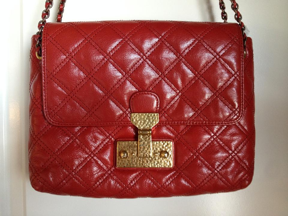 42d331f96748 Marc Jacobs Baroque Single Large Quilted Red Leather Shoulder Bag ...
