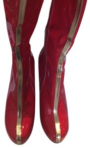 Ellie Shoes red and gold Boots
