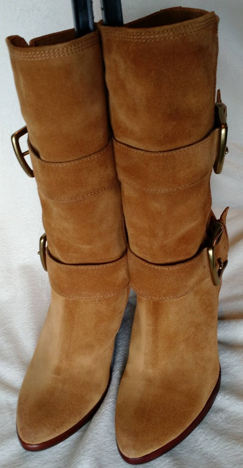 4ab4223b4e4 Frye Wheat Cece Buckle Wedge Boots Booties Size US 9 Regular (M