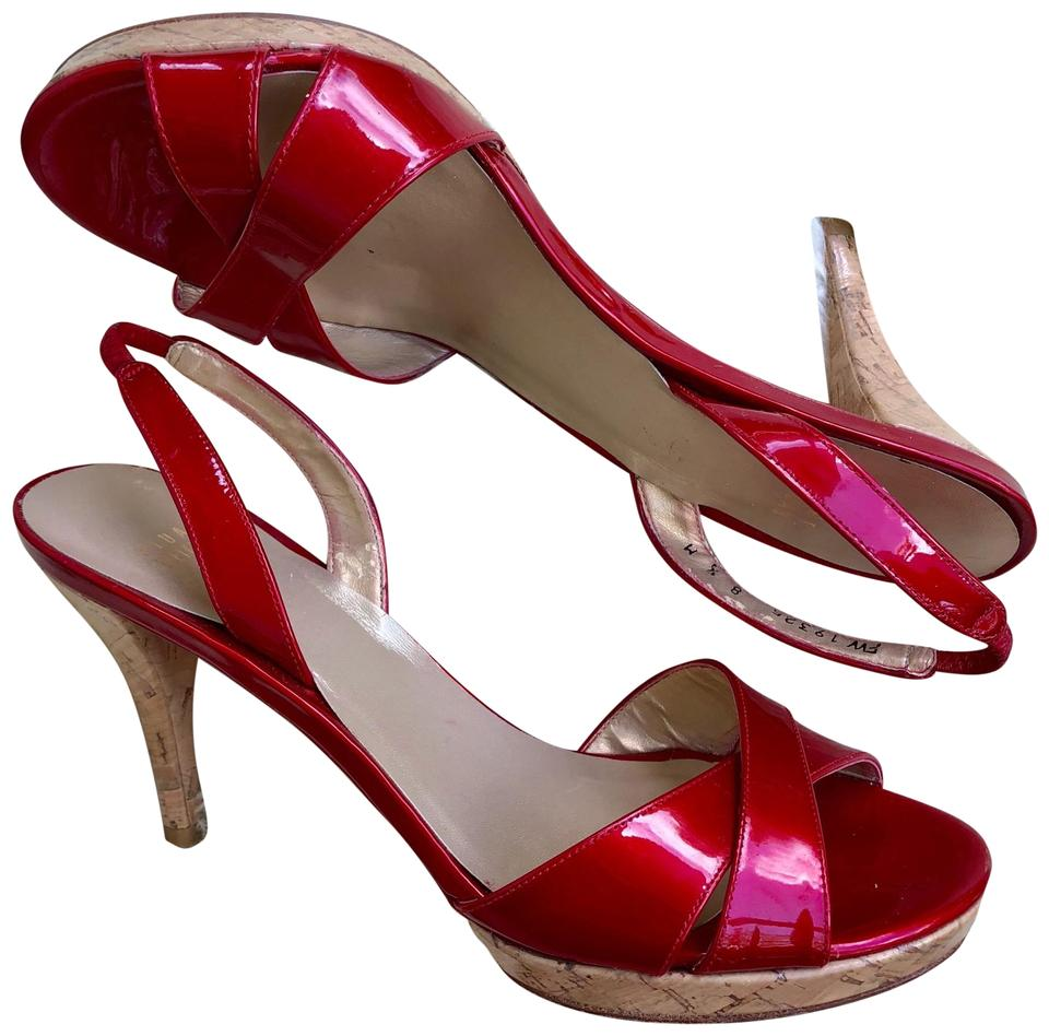 cb8c2747d98b Stuart Weitzman Red Patent Leather Open Toe Slingbacks Sandals Size ...