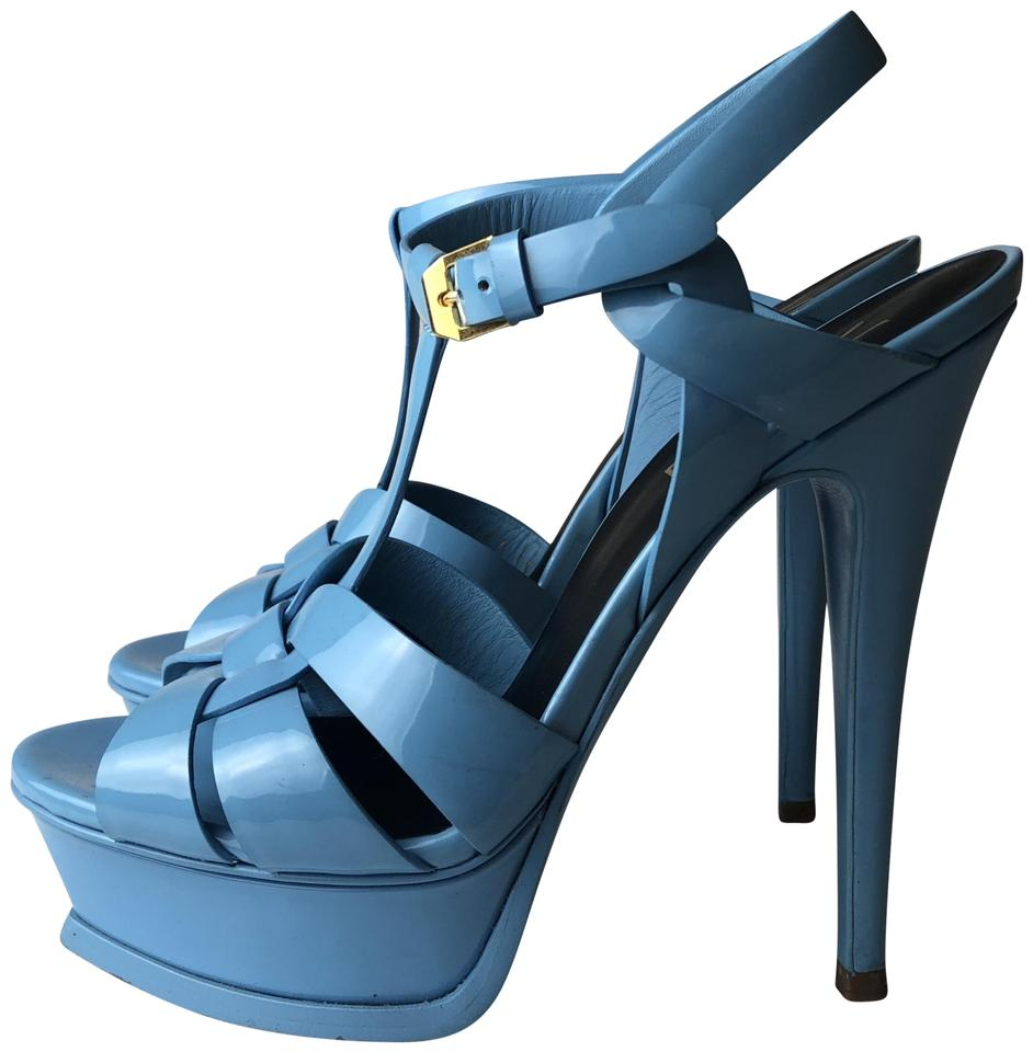 a736fbb15ab Saint Laurent Blue Tribute Ysl Yves Patent Leather Sandals Size EU ...