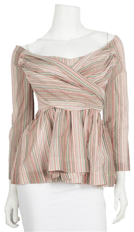 8a16e2324f2 Isa Arfen Red Striped Off-shoulder Peplum Blouse Size 6 (S) - Tradesy
