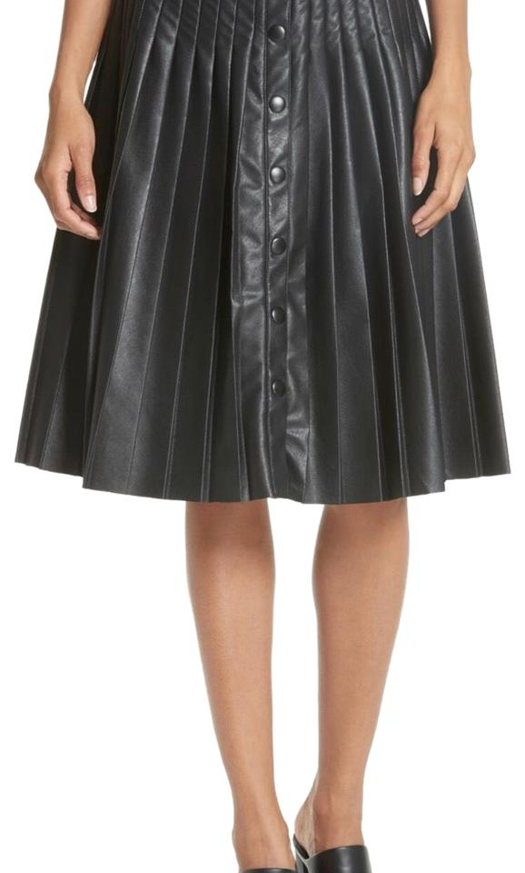 daff92fb70a Rebecca Taylor Black Pleated Faux Leather Skirt Size 2 (XS, 26 ...