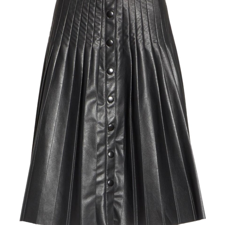 998468b8a8 Rebecca Taylor Black Pleated Faux Leather Skirt Size 2 (XS, 26 ...